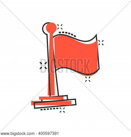 Flag Icon In Comic Style. Pin Cartoon Vector Illustration On White Isolated Background. Flagpole Spl