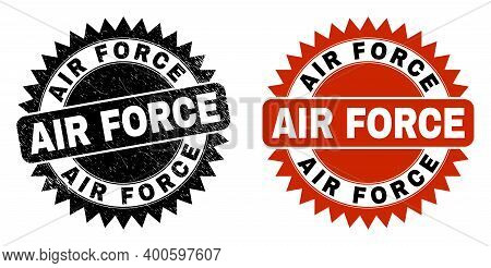 Black Rosette Air Force Seal Stamp. Flat Vector Scratched Seal Stamp With Air Force Message Inside S