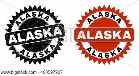 Black Rosette Alaska Stamp. Flat Vector Distress Seal Stamp With Alaska Phrase Inside Sharp Rosette,