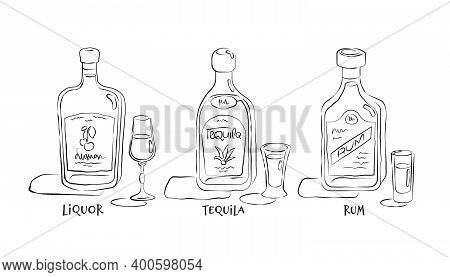 Liquor, Tequila, Rum. Bottle And Glass In Hand Drawn Style. Restaurant Illustration For Celebration