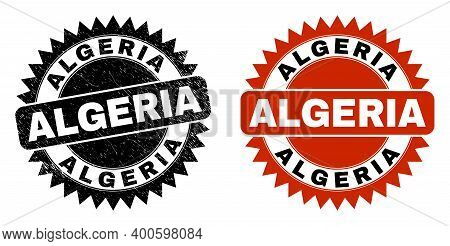 Black Rosette Algeria Seal. Flat Vector Textured Seal With Algeria Text Inside Sharp Rosette, And Or