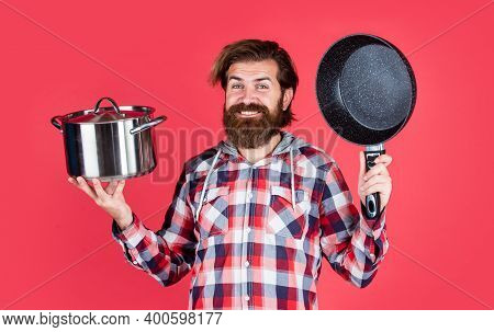 Chef Cooking Dinner. Mature Guy In Checkered Shirt With Pan. Stylish Male Going To Cook Food. Bearde