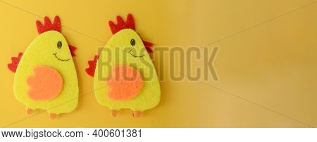 Two Cute Yellow Felt Chickens Handmade, Diy, Kids Easter Crafts, Copy Space, Funny Handmade Idea.