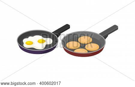Isometric Foodstuff With Scrambled Eggs And Rissole In Frying Pan Vector Set