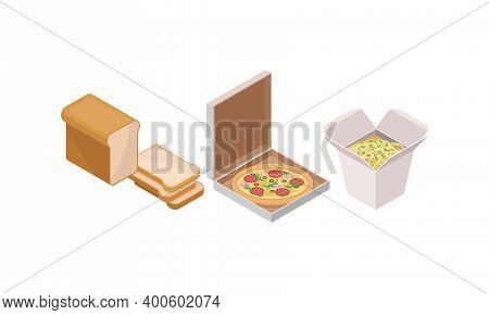 Isometric Foodstuff With Sliced Wheat Bread And Pizza In Carton Package Vector Set