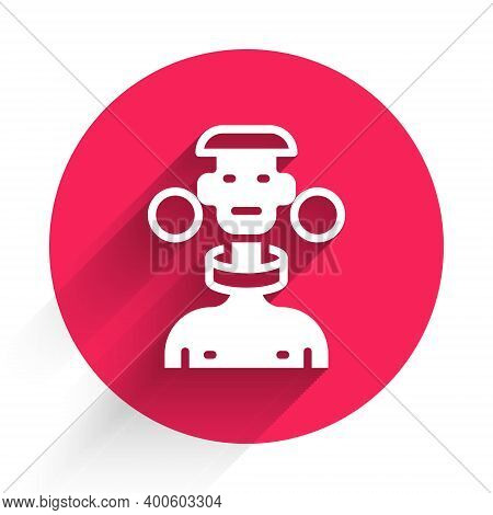 White African Tribe Male Icon Isolated With Long Shadow. Red Circle Button. Vector