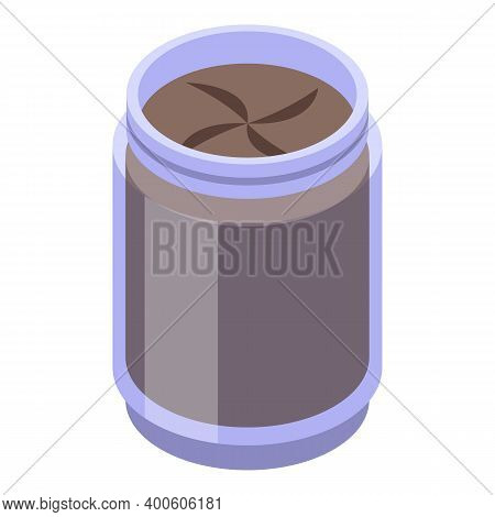 Chocolate Paste Jar Icon. Isometric Of Chocolate Paste Jar Vector Icon For Web Design Isolated On Wh