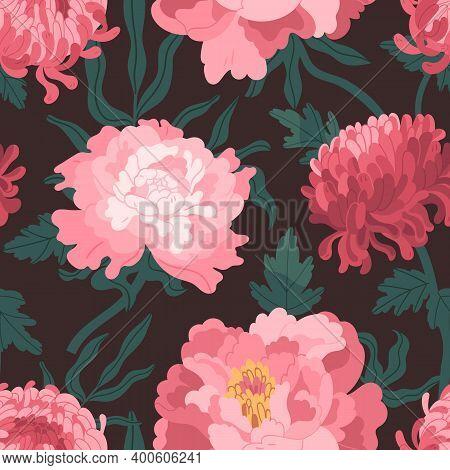Beautiful Pink Japanese Peonies And Chrysanthemum Seamless Pattern. Elegant Wallpaper Template With