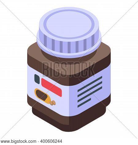 Chocolate Paste Sugar Jar Icon. Isometric Of Chocolate Paste Sugar Jar Vector Icon For Web Design Is