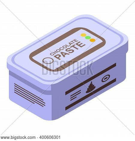 Chocolate Paste Box Icon. Isometric Of Chocolate Paste Box Vector Icon For Web Design Isolated On Wh