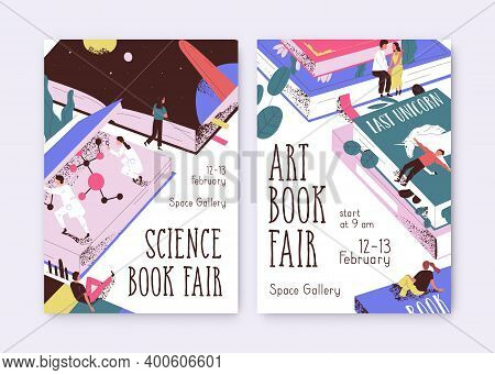 Set Of Posters For Science And Art Book Fair Vector Illustration. Promo Templates With Tiny People A
