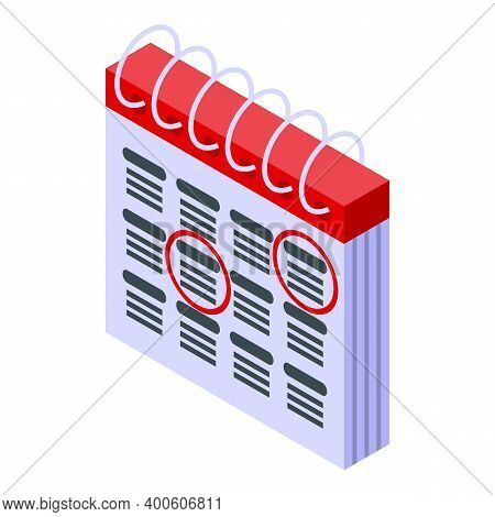 Calendar Assignment Icon. Isometric Of Calendar Assignment Vector Icon For Web Design Isolated On Wh