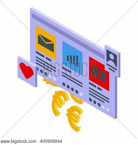 Web Monetization Icon. Isometric Of Web Monetization Vector Icon For Web Design Isolated On White Ba