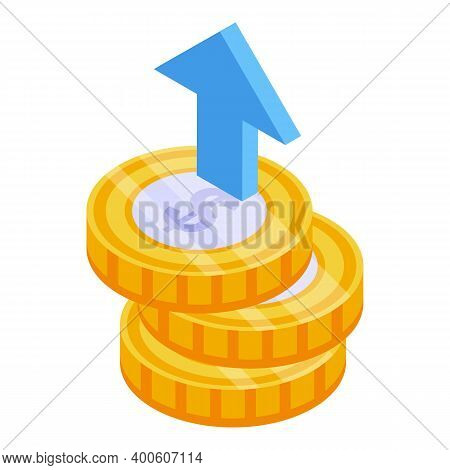 Monetization Dollar Coins Icon. Isometric Of Monetization Dollar Coins Vector Icon For Web Design Is