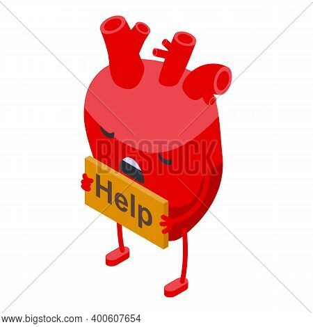 Help Ill Heart Icon. Isometric Of Help Ill Heart Vector Icon For Web Design Isolated On White Backgr