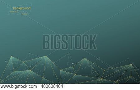 Vector Abstract Futuristic Geometric Background. In Tide Green With Low Poly Mesh In Fortuna Gold. B