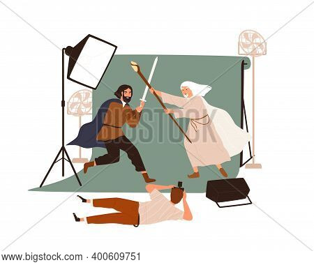Photography Or Filmmaking Backstage. Photographer Taking Photo Of Staged Medieval Battle Between Arm