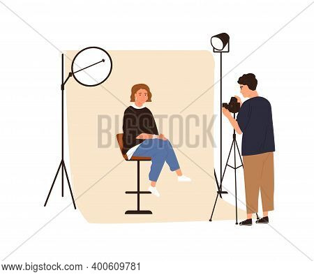 Portrait Photography Backstage. Male Film Photographer Taking Photo Or Shooting Woman Posing In Stud