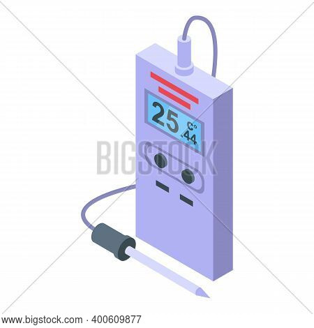 Portable Digital Thermometer Icon. Isometric Of Portable Digital Thermometer Vector Icon For Web Des