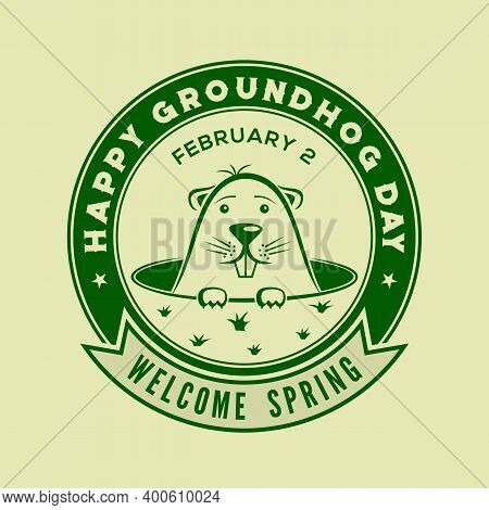 Happy Groundhog Day Card Design With Cute Groundhog. Vector Illustration