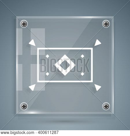 White Magic Carpet Icon Isolated On Grey Background. Square Glass Panels. Vector