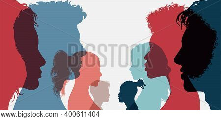 Diversity Multi-ethnic And Multiracial People. Silhouette Group Of Men And Women Of Diverse Culture