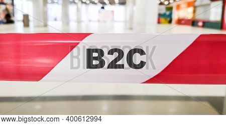 B2c Expression Denoting Business To Customer. Words On A Red Ribbon.