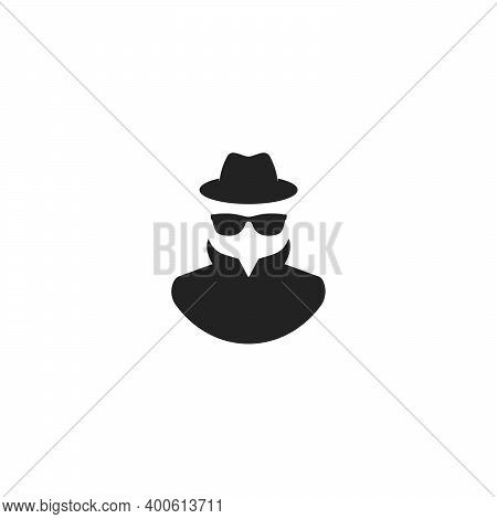 Agent Icon. Spy Sunglasses. Hat And Glasses Stock Vector Illustration Flat Style On White Background