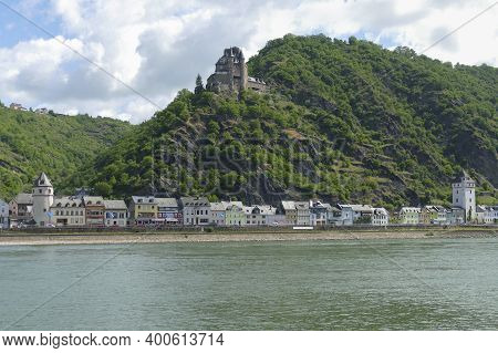 Sankt Goarshausen With Katz Castle At The Rhine Gorge In Rhineland-palatinate, Germany