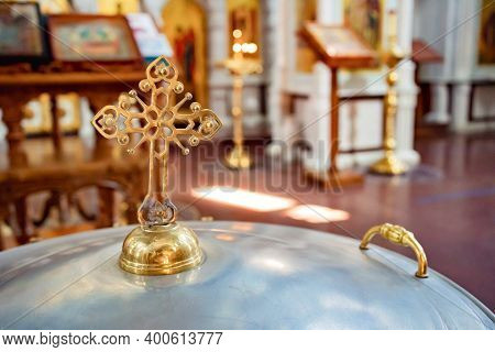Cover Of The Baptismal Font In The Orthodox Church With A Handle