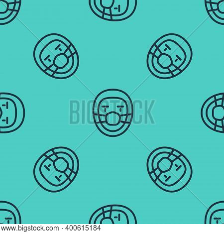 Black Line Doctor Pathologist Icon Isolated Seamless Pattern On Green Background. Vector