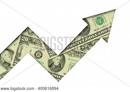 Upward Arrow Made Of Dollar Banknotes On White Background - Concept Of Growing And Upward Trend Of D