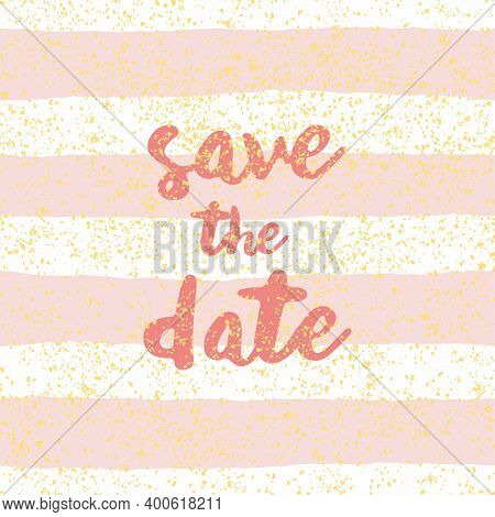 Save The Date With Pastel White And Pink Vector Background