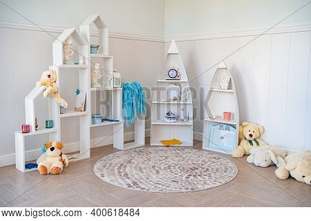 Beautiful And Convenient Storage In The Children Room.