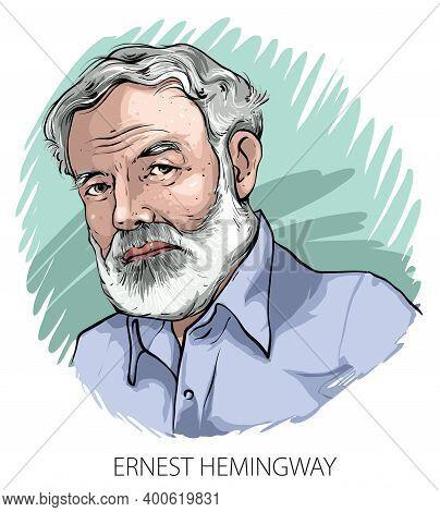Cartoon Style Illustration Of Famous American Writer Ernest Hemingway.
