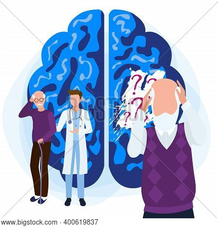 Alzheimers Disease Patients Concept. A Blackout In The Memory Of An Old Man. Medical Care Is Provide