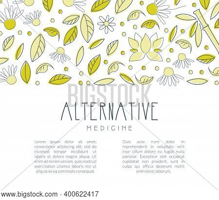 Alternative Medicine Banner With Space For Text, Homeopathy, Naturopathy, Ayurveda, Acupuncture, Hol