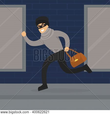 Thief Running With Stolen Bag, Burglar Committing Robbery, Criminal Scene Flat Vector Illustration