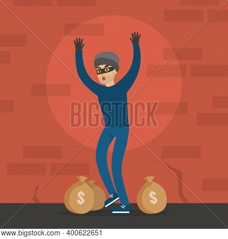 Male Thief Standing With His Hands Raised, Masked Burglar Stole Money, Robbery And Security Concept
