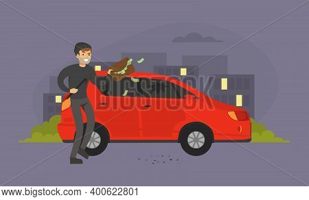 Male Burglars Stealing Handbag With Money From Car In The Street, Thief Committing Robbery, Criminal