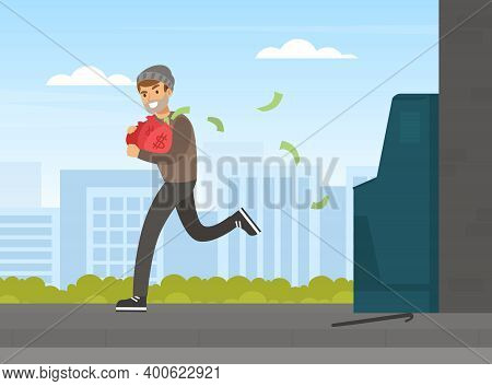 Male Thief Stealing Money From Atm, Burglar Committing Robbery, Theft Running With Money Bag, Lawles