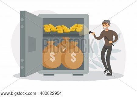 Male Burglars Stealing Money From Safe, Thief Committing Robbery, Lawless Financial Criminal Scene F
