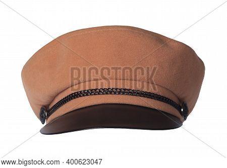 Fashion Orange Hat With Black Visor Isolated On White Background.cap Female. Colored Hat .