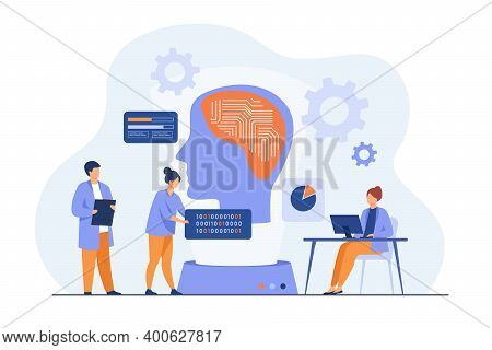 Scientists Studying Neural Connections. Programmers Writing Codes For Machine Brain. Vector Illustra