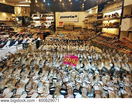 Sale Of Women's Sandals In A Thai Shoe Store. Samui / Tailand - 02.24.2020