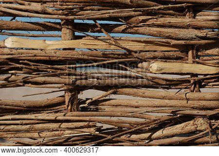 Fence Wicker From The Vine, Texture, Background. Wicker Vine Fence