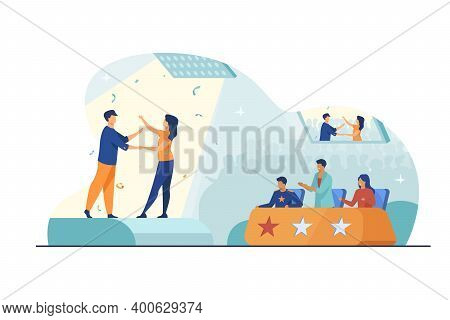 Couple Of Singers Performing Before Jury. Performers, Talent, Stage Flat Vector Illustration. Show,