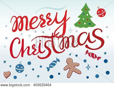 Merry Christmas Vector Lettering Illustration. Perfect For Logos, Emblems, Invitation, Greeting Card