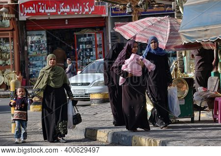 Egypt, Hurghada, 17,01,2009 A Woman In A Burqa In The Streets Of Egypt