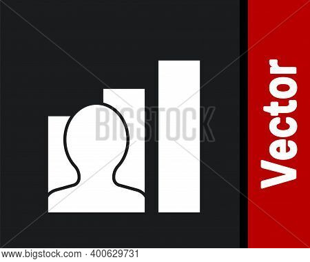 White Productive Human Icon Isolated On Black Background. Idea Work, Success, Productivity, Vision A